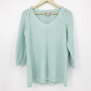 Soft Surroundings Mint-Blue Cable Knit Sweater SM